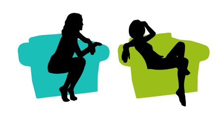 seated: black silhouettes of a young beautiful relaxed woman seated in a lounge colored armchair