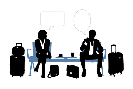 black and white silhouettes of a businessman and a businesswoman having rest in airport lounge area and speaking about their business, a vacant text bubbles above them Banque d'images