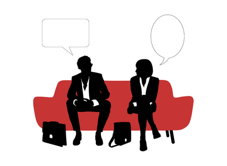 seated: black and white silhouettes of young businessman and businesswoman seated on red sofa having rest and speaking about their business, a vacant text bubbles above them Stock Photo
