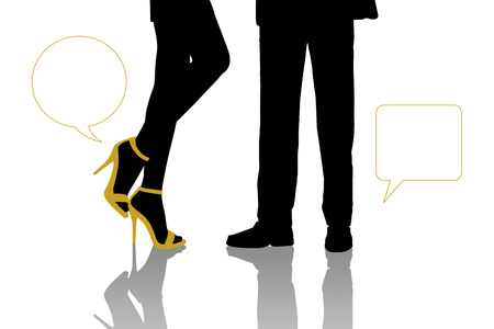 next to each other: symbolic dialogue between a businessman and a young beautiful woman standing in front of each other, zoom on their legs, vacant text bubbles next to them Stock Photo