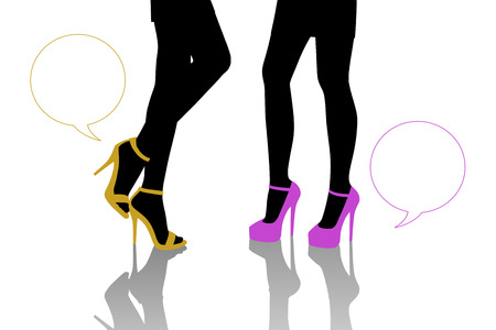 vacant: symbolic dialogue between two women standing in front of each other on the high heels of different color, zoom on their legs, vacant text bubbles next to them