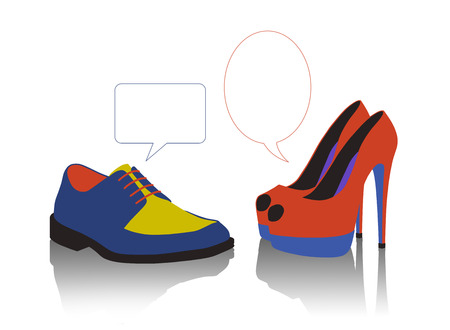 unequal: unequal dialogue between a colorful man s and woman s shoes Stock Photo