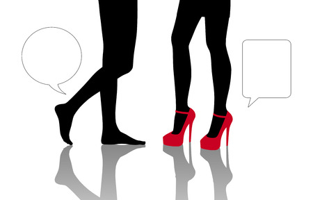 vacant: symbolic dialogue between two women standing in front of each other one shoeless and the other on the high heels, zoom on their legs, vacant text bubbles next to them
