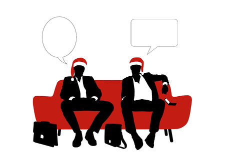 vacant: black and white silhouettes of two young handsome businessmen seated on a red sofa in red christmas hats and speaking, a vacant text bubbles above them
