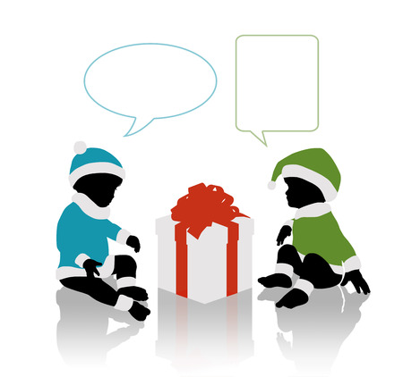 silhouettes of two cute little babies in colorful Santa Claus clothes seated around a huge gift, vacant text bubbles above them photo