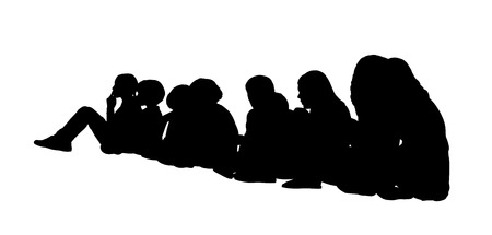 side viewing: black silhouette of a large group of children of different age seated on the floor in a row, profile view