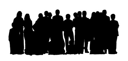black silhouette of a large group of different people some standing and some sitting on the floor front view photo