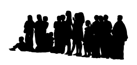 side viewing: black silhouette of a large group of different people mostly women, adults standing and children sitting on the floor, side profile view
