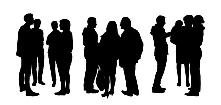 black silhouettes of three small groups of people standing and talking to each other, back and profile views Banco de Imagens