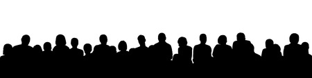black silhouette of a large audience, panoramic view Stockfoto