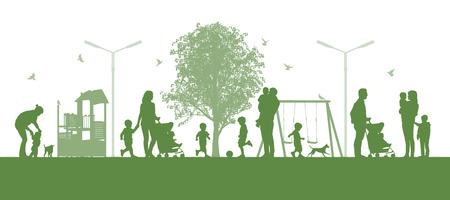 親と一緒に都市公園で遊ぶ子供たちのパノラマ都市シーンのイラスト