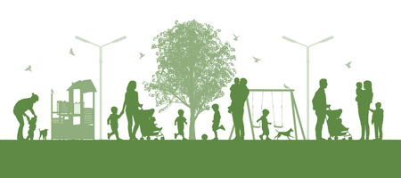 illustration of a panoramic urban scene of parents and their children playing together in the urban parc