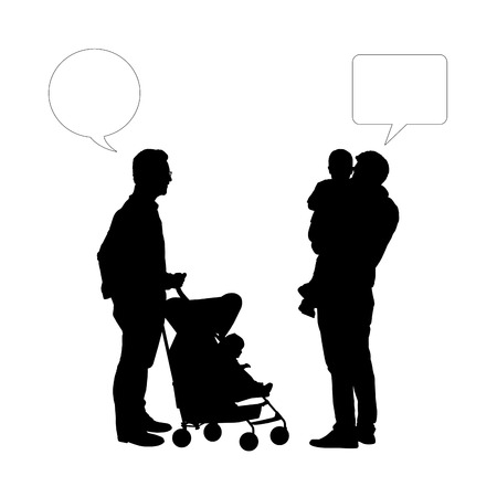black silhouettes of two fathers of young children talking together, vacant text bubbles above them photo