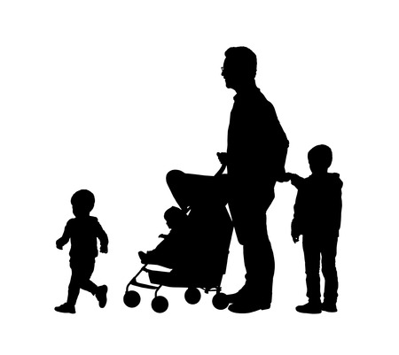 single parent: silhouettes of young father and his three children of different age outdoor Stock Photo