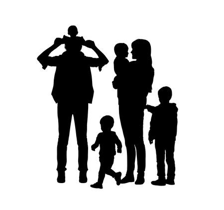 two generation family: black silhouettes of young big family of two parents and their four sons of different age happy together