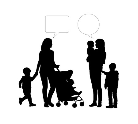 black silhouettes of two young mothers of two children each one talking together, vacant text bubbles above them photo