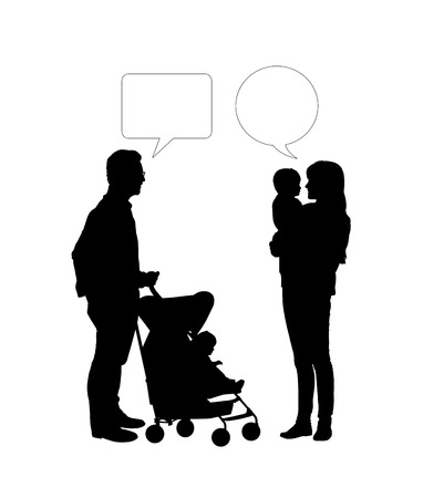 black silhouettes of two parents of young children  a man and a woman  talking together, vacant text bubbles above them photo