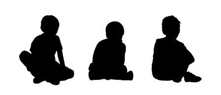 black silhouettes of three little boys age 5-10 seated on the floor face to the onlooker in different postures