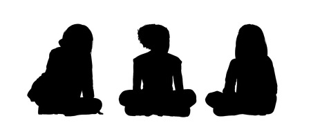 onlooker: black silhouettes of three little girls age 5-10 seated on the floor face to the onlooker in different postures