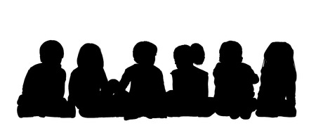 about age: black silhouettes of medium group of children about age 5-10 seated in a row on the floor face to the onlooker in different postures