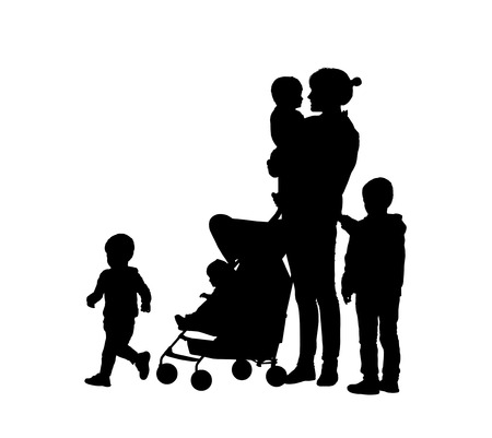 silhouettes of young mother and her four children of different age outdoor Stock Photo