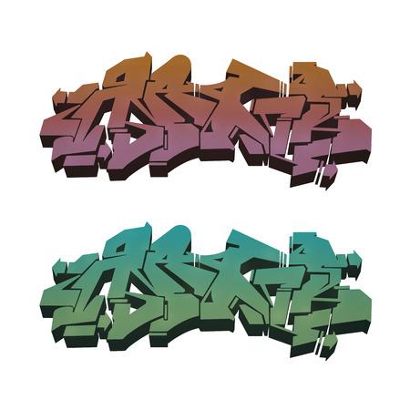 extruded: isolato astratto graffiti estruso su uno sfondo bianco in due colori variazione Archivio Fotografico
