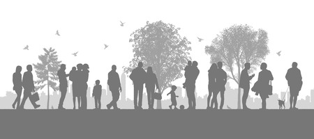 illustration of a panoramic urban scene of people walking in the parc looking on the city silhouette