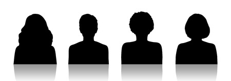 middle age women: black silhouettes of identity portraits of four different middle age women Stock Photo