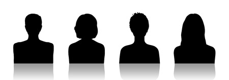 face silhouette: black silhouettes of identity portraits of four different young women