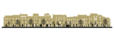 pitched roof: illustration of a middle size city life, people walking, talking and standing in the street on a beige 3-4 levels townhouses silhouettes Stock Photo