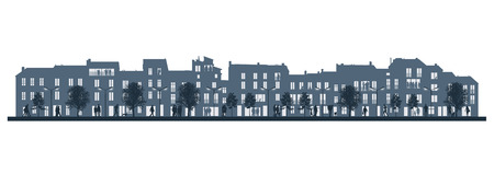 illustration of a middle size city life in the evening, people walking, talking and standing in the street and in their apartments on a blue 3-4 levels townhouses silhouettes illustration