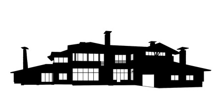 pitched roof: black silhouette of a big contemporary isolated two levels country house with white windows, perspective view Stock Photo