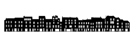 pitched roof: black and white silhouette of long facade of a typical south european street of the city center, 3-4 level buildings, windows, tiled pitched roofs, chimneys