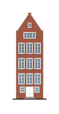 pitched roof: illustration of a beautiful traditional townhouse made of red brick with a pitched roof and wooden white window frames, typical for north of Europe