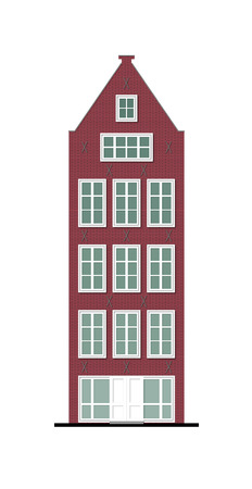 pitched roof: illustration of a beautiful old townhouse made of vinous brick with a pitched roof, wooden white window frames and a shop on a ground floor, typical for north of Europe Stock Photo