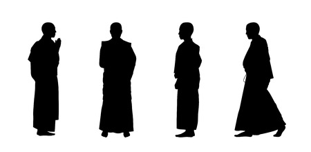 friar: silhouettes of four buddhist monks in traditional clothes standing and walking