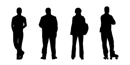 black silhouettes of ordinary men and a woman of different ages standing outdoor - front, back and profile view