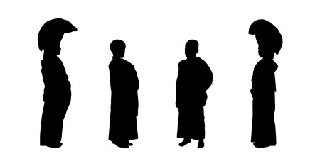ordinance: silhouettes of four young buddhist monks in traditional clothes standing