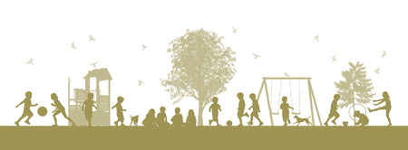 illustration of a panoramic scene of children playing together on the playground illustration