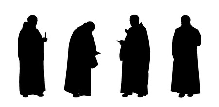 silhouettes of four christian monks standing in different postures Stock Photo