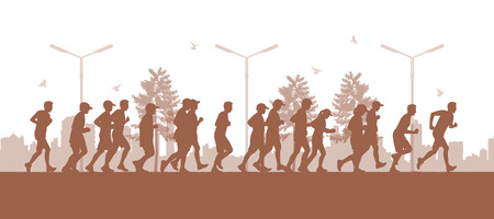 well being: illustration of a panoramic urban scene of a big group of people running in the parc on the big city silhouette background