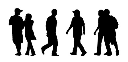 black silhouettes of ordinary men, women and couples of different ages walking outdoor, back and profile view photo