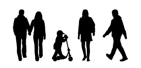 black silhouettes of ordinary men, women, children and couples of different ages walking outdoor, back and profile view