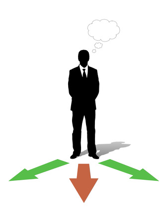 vacant: businessman standing in front of three arrows going into different directions and choosing his way, vacant text bubble above him