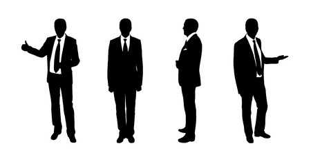 black and white silhouettes of a businessman standing in different postures, face and profile views photo