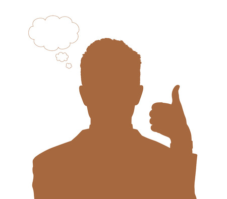 vacant: silhouette portrait of a young handsome businessman making a good sign with his fingers, vacant text cloud bubble next to him