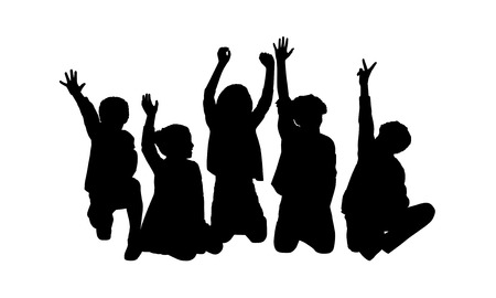 about age: black silhouettes of five children about age 7-10 seated in a row on the floor face to the onlooker in different postures their hands in the air