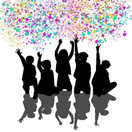 about age: silhouettes of five children about age 7-10 seated in a row their hands are in the air with colorful confetti on the background