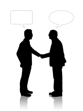 black silhouettes an old and a young businessmen shaking their hands, vacant text bubbles above them Stockfoto