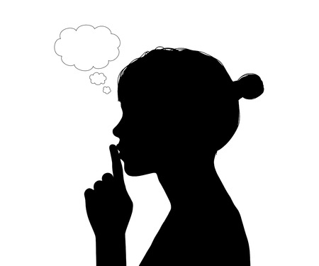profile of a young beautiful woman with her finger on her lips, vacant text cloud bubble next to her forehead